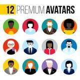 Moderne vlakke vector geplaatst avatars Kleurrijke gebruikerspictogrammen Stock Afbeelding