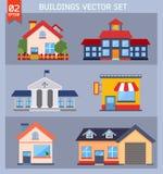 Moderne vlakke vector geplaatste gebouwen. Stock Afbeelding
