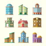 Moderne vlakke vectorgebouweninzameling Stock Foto