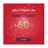Moderne vlieger met dag van de tekst de gelukkige valentijnskaart ` s Royalty-vrije Illustratie