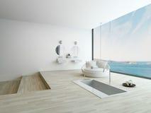 Moderne vloerbadkuip tegen reusachtig venster met zeegezichtmening royalty-vrije stock afbeeldingen