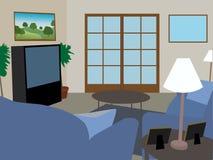 Moderne volledig geleverde woonkamer Stock Fotografie