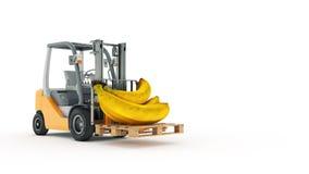 Moderne vorkheftruck met banaan royalty-vrije illustratie