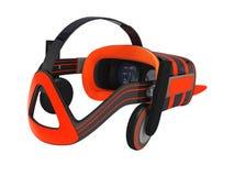 Moderne VR-Gläser mit grauer Orange 3d der eingebauten Kopfhörer übertragen Lizenzfreie Stockfotografie