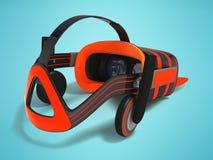 Moderne VR-Gläser mit grauer Orange 3d der eingebauten Kopfhörer übertragen Lizenzfreies Stockfoto