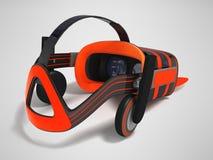 Moderne VR-Gläser mit grauer Orange 3d der eingebauten Kopfhörer übertragen Lizenzfreie Stockbilder