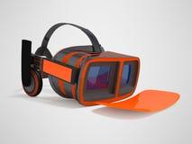 Moderne VR-Gläser mit grauer orange Front der eingebauten Kopfhörer pro Stockbilder