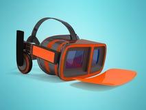 Moderne VR-Gläser mit grauer orange Front der eingebauten Kopfhörer pro Lizenzfreies Stockbild