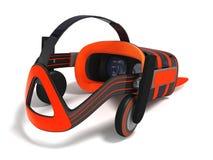 Moderne VR-Gläser mit grauer Wiedergabe der Orange 3d der eingebauten Kopfhörer auf weißem Hintergrund mit Schatten Lizenzfreie Stockbilder