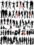 Moderne vrouwen en mannen silhouetten Stock Fotografie