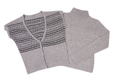 Moderne warme vest en sweater op een wit. Stock Fotografie