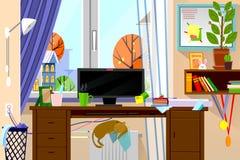 Moderne Websiteillustration der Karikaturart des Arbeitsplatzes der freiberuflichen Tätigkeit im Wohnzimmerinnenraum Lizenzfreie Stockfotos