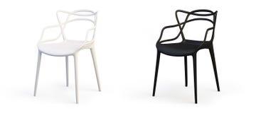 Moderne weiße und schwarze Stühle 3d übertragen stock abbildung