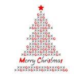 Moderne Weihnachtsbaumkarte mit wertlosenundKreuzen, Illustration Lizenzfreie Stockfotos