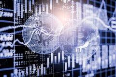Moderne Weise des Austausches Bitcoin ist bequeme Zahlung in globalem Lizenzfreie Stockbilder