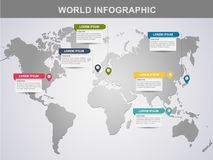 moderne Weltinformationsgrafikdesign-Elementfahne stockfotos
