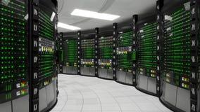 Moderne werkende serverruimte stock video