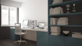Moderne werkplaats in minimalistisch huis, bureau met computers, groot boekenrek, comfortabel wit en blauw architectuurbinnenland stock illustratie