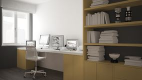 Moderne werkplaats in minimalistisch huis, bureau met computers, groot boekenrek, comfortabel wit en geel architectuurbinnenland stock illustratie