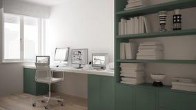 Moderne werkplaats in minimalistisch huis, bureau met computers, groot boekenrek, comfortabel wit en groen architectuurbinnenland royalty-vrije illustratie