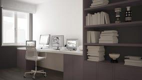 Moderne werkplaats in minimalistisch huis, bureau met computers, groot boekenrek, comfortabel wit en rood architectuurbinnenland vector illustratie
