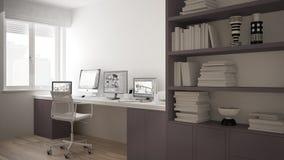 Moderne werkplaats in minimalistisch huis, bureau met computers, groot boekenrek, comfortabel wit en rood architectuurbinnenland stock illustratie