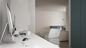 Moderne werkplaats in minimalistisch huis, bureau met computers, sleutelwoorden en muis, comfortabel wit en blauw architectuurbin vector illustratie