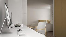 Moderne werkplaats in minimalistisch huis, bureau met computers, sleutelwoorden en muis, comfortabel wit en geel architectuurbinn royalty-vrije illustratie