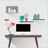 Moderne werkplaats in ruimte of bureauillustratie vectoreps10 Royalty-vrije Stock Fotografie