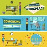 Moderne werkplaatsen Creatieve karakters Het werk van het bureau De vectorillustratie van het beeldverhaal Royalty-vrije Stock Afbeelding