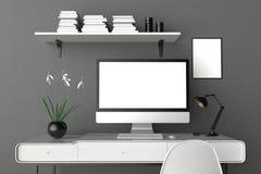 Moderne werkruimte, het geïsoleerde computerscherm en kaderspot omhoog 3d Royalty-vrije Stock Afbeeldingen