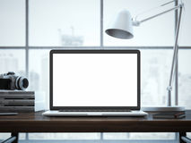 Moderne werkruimte met laptop het 3d teruggeven Stock Foto