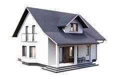 Moderne Wiedergabe des Hauses 3d auf weißem Hintergrund lizenzfreie abbildung