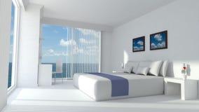 Moderne Wiedergabe des Luxushotelraumes 3D Stockfotos
