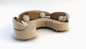Moderne Wiedergabe des Sofas 3D Lizenzfreie Stockfotos