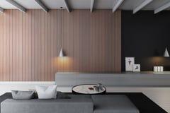 Moderne Wiedergabe des Wohnzimmers 3d Stockfotos
