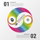 Moderne Wirtschaftskreis yin Yang-Artwahlfahne mit Ikonen Auch im corel abgehobenen Betrag Lizenzfreie Stockbilder