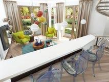 Moderne witte bar met drie transparante stoelen royalty-vrije illustratie