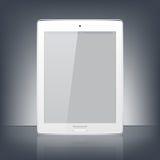 Moderne witte digitale tabletpc op de zwarte achtergrond Wetenschap en technologieconcept Vector illustratie Stock Fotografie