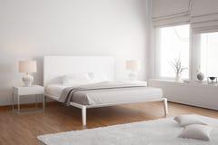 Moderne witte eigentijdse slaapkamer Stock Afbeeldingen