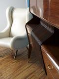 Moderne witte leerstoel en houten buffet. Royalty-vrije Stock Afbeelding