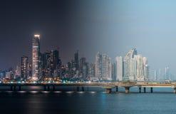 Moderne Wolkenkratzerstadtskyline am Nacht- und Tagphotomerge, Panama-Stadt lizenzfreie stockbilder