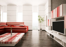 Moderne woonkamer binnenlandse 3d geeft terug Stock Foto's