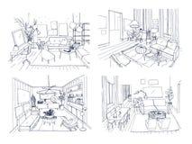 Moderne woonkamer binnenlandse reeks Geleverde woonkamerinzameling Schets van de contour de vectorillustratie op licht royalty-vrije illustratie