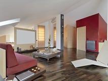 Moderne woonkamer in de zolder Royalty-vrije Stock Afbeeldingen