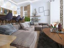 Moderne woonkamer in een zolderstijl Royalty-vrije Stock Afbeelding