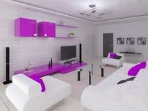Moderne woonkamer in hi-tech stijl met functioneel meubilair stock illustratie