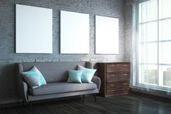 Moderne woonkamer met affiche Stock Foto