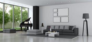 Moderne woonkamer met bank en grote piano Royalty-vrije Stock Foto