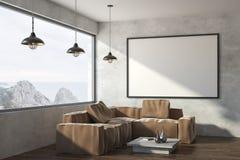 Moderne woonkamer met banner vector illustratie